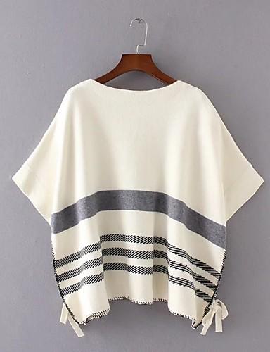 Damen Standard Mantel / Capes-Ausgehen Lässig/Alltäglich Einfach Gestreift Rundhalsausschnitt Langarm Wolle Baumwolle Polyester Frühling