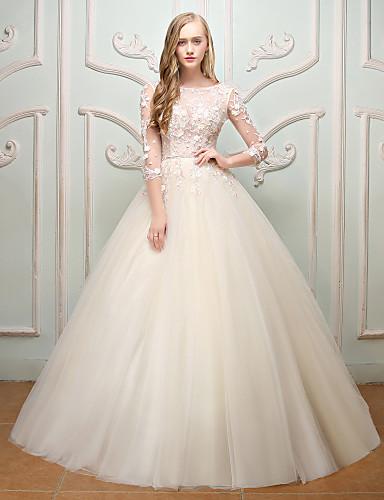 5715daecb720 Πριγκίπισσα Με Κόσμημα Μακρύ Δαντέλα Τούλι Νυφικό με Κέντημα Λουλούδι με QZ