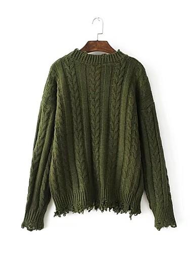 Damen Standard Pullover-Ausgehen Lässig/Alltäglich Einfach Solide Rundhalsausschnitt Langarm Wolle Baumwolle Frühling Herbst Dünn Mittel