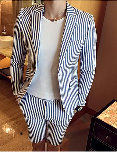 Herren Gestreift Einfach Arbeit Anzug,Steigendes Revers Frühling Herbst Lange Ärmel Standard Baumwolle Polyester