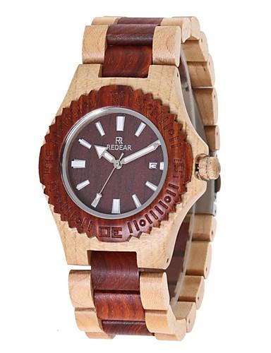 Women's Wrist Watch Japanese Quartz Wooden Wood Band Analog Charm Luxury Elegant Red / Ivory - Wood