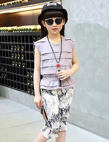 Mädchen Sets einfarbig Druck Baumwolle Modal Acryl Sommer Herbst Kleidungs Set