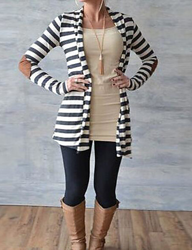 Women's Long Sleeves Loose Cardigan - Striped Color Block