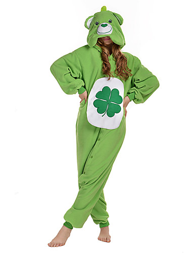 baratos Pijamas Kigurumi-Adulto Pijamas Kigurumi Urso Pijamas Macacão Lã Polar Verde Cosplay Para Homens e Mulheres Pijamas Animais desenho animado Festival / Celebração Fantasias