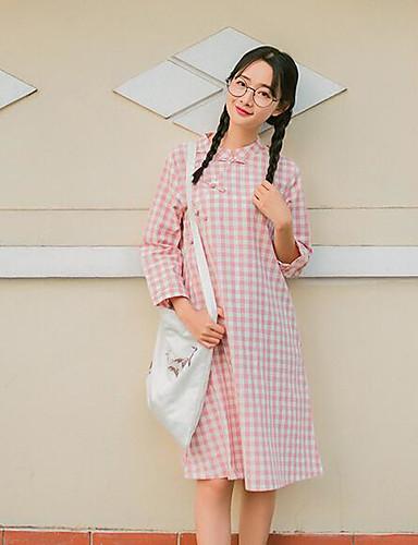 Damen Baumwolle Hemd Kleid - Druck Übers Knie Ständer