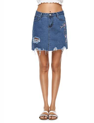 Damen Street Schick Urlaub Lässig/Alltäglich Mini Röcke Bodycon,Bestickt Jeansstoff einfarbig Sommer