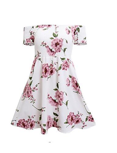 Damen Skater Kleid-Lässig/Alltäglich Blumen Bateau Übers Knie Kurzarm Polyester Sommer Hohe Hüfthöhe Unelastisch Dünn