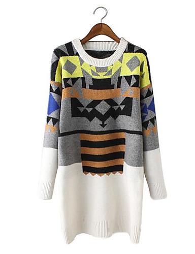 Damen Strickware Kleid-Lässig/Alltäglich Einfach Geometrisch Rundhalsausschnitt Knielang Langarm Wolle Baumwolle Herbst Winter Mittlere