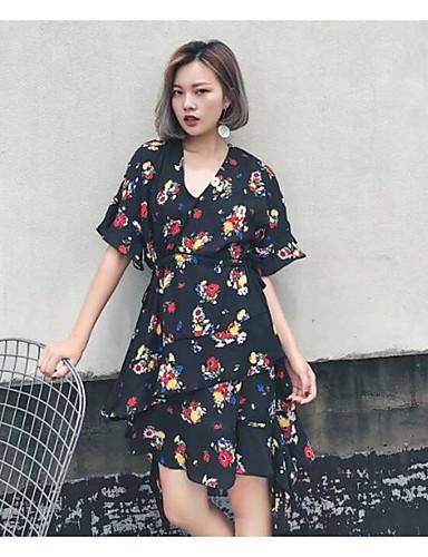 Damen Tunika Chiffon Kleid-Lässig/Alltäglich Solide Blumen Druck V-Ausschnitt Midi Kurzarm Baumwolle Andere Sommer Mittlere Hüfthöhe