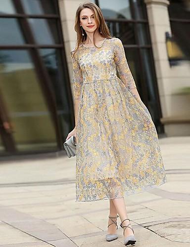 Damen Spitze Swing Kleid-Party Ausgehen Lässig/Alltäglich Anspruchsvoll Blumen Rundhalsausschnitt Midi Halbe Ärmel Acryl Sommer Herbst