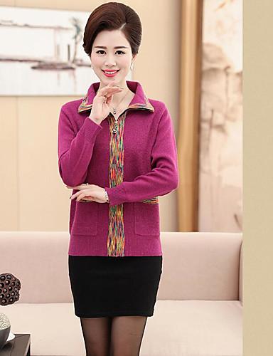 Damen Standard Strickjacke-Lässig/Alltäglich Druck Hemdkragen Langarm Wolle Winter Mittel Mikro-elastisch