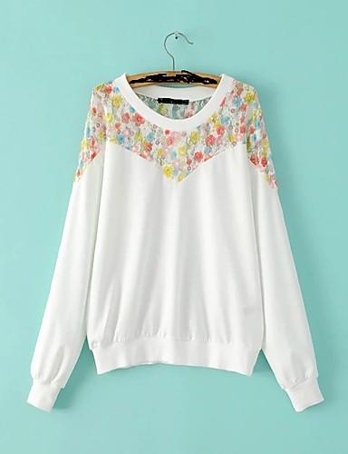 Damen Pullover Ausgehen Lässig/Alltäglich Einfach Niedlich Aktiv Solide Druck Rundhalsausschnitt Mikro-elastisch Baumwolle Polyester