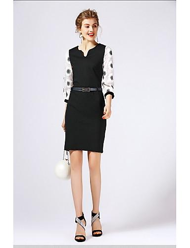 Damen Hülle Kleid-Ausgehen Niedlich Patchwork U-Ausschnitt Übers Knie 3/4 Ärmel Polyester Herbst Mittlere Hüfthöhe Mikro-elastisch Mittel