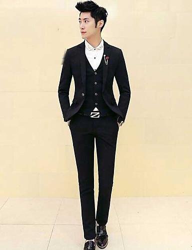 Herren Druck Einfach Lässig/Alltäglich Arbeit Anzug,V-Ausschnitt Frühling Lange Ärmel Standard Baumwolle