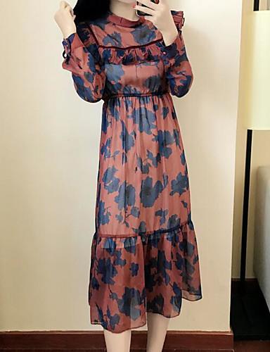 Damen Chiffon Kleid-Ausgehen Lässig/Alltäglich Blumen Rundhalsausschnitt Midi Langarm Baumwolle Frühling Herbst Mittlere Hüfthöhe
