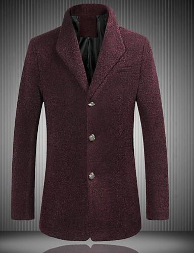 Herren Solide Street Schick Ausgehen Lässig/Alltäglich Arbeit Blazer,Steigendes Revers Herbst Lange Ärmel Standard Polyester