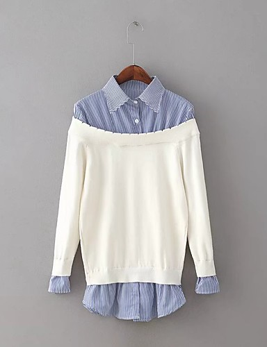 Damen Standard Pullover-Ausgehen Lässig/Alltäglich Einfach Street Schick Solide Gestreift Einfarbig Hemdkragen Langarm Kunstseide Acryl