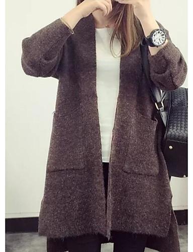 Damen Lang Strickjacke-Lässig/Alltäglich Solide V-Ausschnitt Langarm Kaninchen-Pelz Baumwolle Leinen Herbst Mittel Mikro-elastisch
