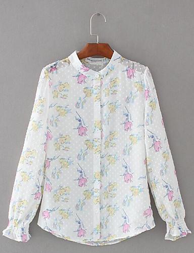 Damen Blumen Niedlich Lässig/Alltäglich Bluse,Rundhalsausschnitt Langarm Polyester