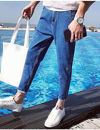 Herren Einfach Mittlere Hüfthöhe Mikro-elastisch Eng Jeans Haremshosen Hose Solide