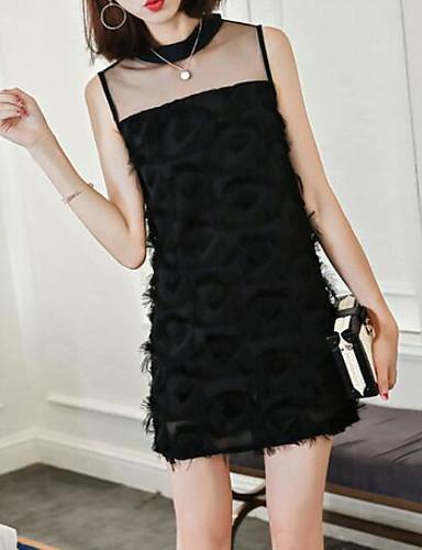 Damen A-Linie Kleid Solide Gurt
