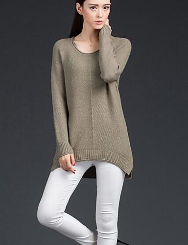 Damen Standard Pullover-Lässig/Alltäglich Solide Rundhalsausschnitt Langarm Wolle Baumwolle Frühling Herbst Mittel Mikro-elastisch