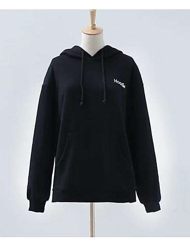 Damen Kapuzenshirt Lässig/Alltäglich Solide Buchstabe Mikro-elastisch Polyester Lange Ärmel Frühling