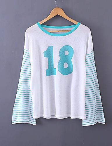 Damen Gestreift Buchstabe Einfach Sexy Street Schick Ausgehen Lässig/Alltäglich T-shirt,Rundhalsausschnitt Sommer Langarm Acryl Polyester