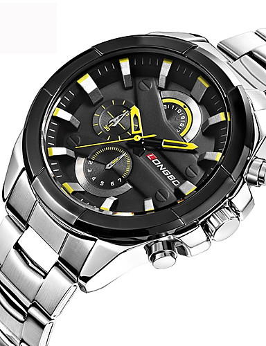 Men's Sport Watch / Military Watch / Wrist Watch Japanese Water Resistant / Water Proof / Creative / Cool Stainless Steel Band Luxury / Vintage / Casual Black / Silver / Gold / Large Dial