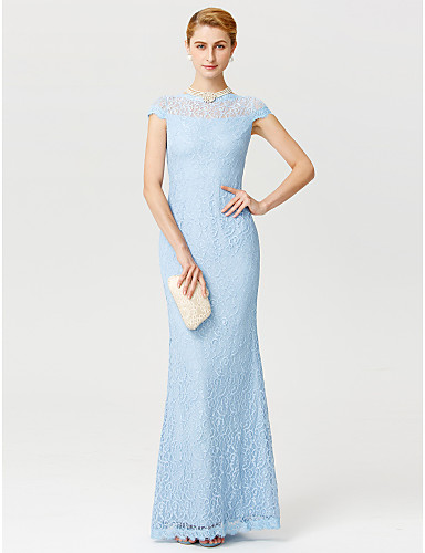Sheath / Column Illusion Neck Floor Length Lace Mother of the Bride Dress with Lace by LAN TING BRIDE®