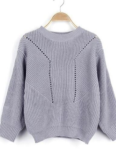 Damen Lang Pullover-Lässig/Alltäglich Einfach Street Schick Solide Rundhalsausschnitt Langarm Baumwolle Polyester Herbst Winter Dick
