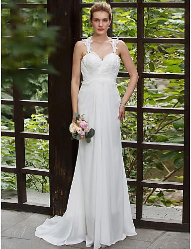 גזרת A שובל סוויפ \ בראש שיפון תחרה שמלת חתונה עם אפליקציות על ידי LAN TING BRIDE®