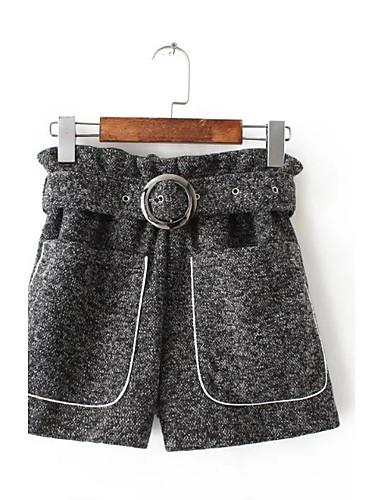 Damen Street Schick Mittlere Hüfthöhe Mikro-elastisch Lose Kurze Hosen Hose,Baumwolle Winter Herbst Solide