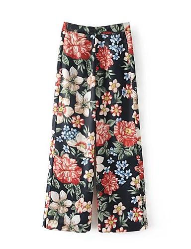 Damen Street Schick Mittlere Hüfthöhe Mikro-elastisch Breites Bein Chinos Lose Hose Blumen Stickerei