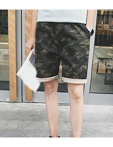 Herren Einfach Mittlere Hüfthöhe Mikro-elastisch Chinos Kurze Hosen Lose Hose camuflaje