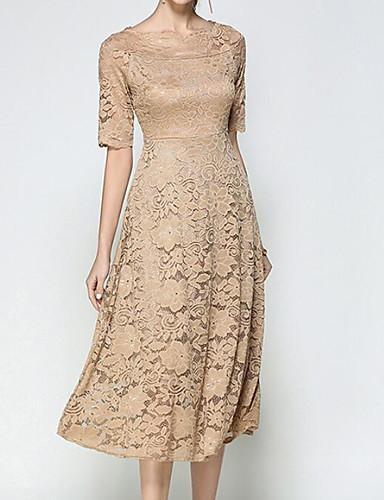 Damen Hülle Kleid-Ausgehen Solide Bateau Midi Halbe Ärmel Polyester Sommer Mittlere Hüfthöhe Mikro-elastisch Mittel
