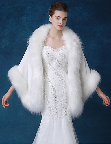 Women's Going out Faux Fur Cloak / Capes - Solid Colored