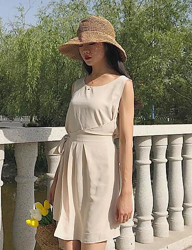 Damen Chiffon Kleid-Lässig/Alltäglich Solide Rundhalsausschnitt Übers Knie Ärmellos Polyester Sommer Hohe Hüfthöhe Unelastisch Dünn