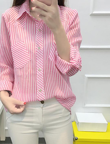 Damen Gestreift Einfach Hemd,Hemdkragen Frühling Langarm Polyester