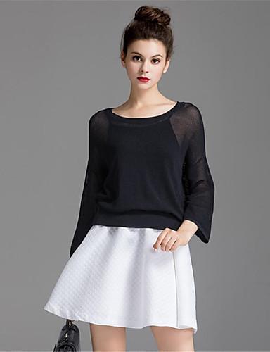 Damen Solide Einfach Lässig/Alltäglich Bluse Rock Anzüge,Rundhalsausschnitt Herbst Lange Ärmel Mikro-elastisch