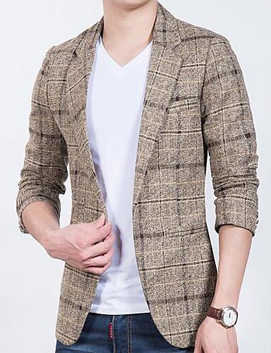Herren Solide Verziert Einfach Lässig/Alltäglich Blazer,Hemdkragen Herbst Lange Ärmel Standard Polyester