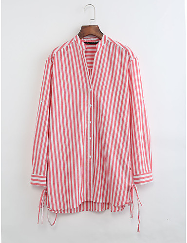 Damen Solide Gestreift Hemd, Ständer Baumwolle Leinen