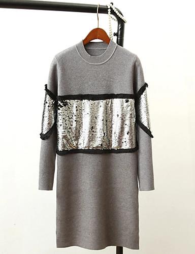 Damen Lang Pullover-Ausgehen Lässig/Alltäglich Einfach Niedlich Solide Rundhalsausschnitt Langarm Baumwolle Frühling Herbst Dünn Mittel