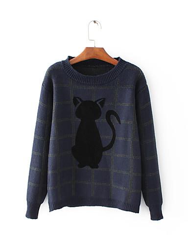 Damen Standard Pullover-Ausgehen Lässig/Alltäglich Einfach Street Schick Druck Rundhalsausschnitt Langarm Wolle Baumwolle Winter Herbst