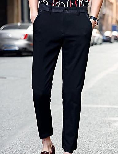 Herren Einfach Mittlere Hüfthöhe Mikro-elastisch Chinos Haremshosen Hose Solide