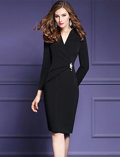 fbdbb383877 Γυναικεία Μεγάλα Μεγέθη Εξόδου Κομψό στυλ street Εκλεπτυσμένο Θήκη Φόρεμα -  Μονόχρωμο, Σουρωτά Σκίσιμο Ως το Γόνατο Λαιμόκοψη V Μαύρο / Λεπτό