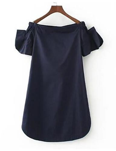 Damen Solide Einfach Ausgehen T-shirt,Bateau Kurzarm Baumwolle