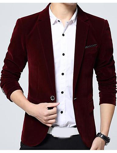 Herren Solide Einfach Lässig/Alltäglich Blazer,Steigendes Revers Herbst Lange Ärmel Standard Polyester