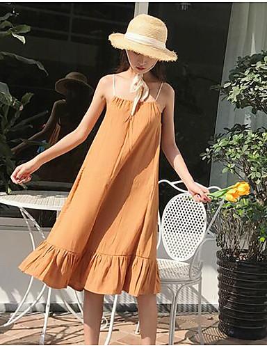 صيف قطن بدون كم طويل للأرض مع حمالة سادة فستان فضفاض قديم ذهاب للخارج نساء,وسط مطاطي صغير رقيق