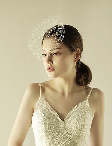 One-tier Beaded Edge Wedding Veil Blusher Veils with Sparkling Glitter Tulle / Birdcage